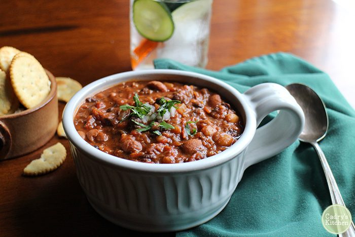 3 Bean Chili - a hearty vegan chili | cadryskitchen.com