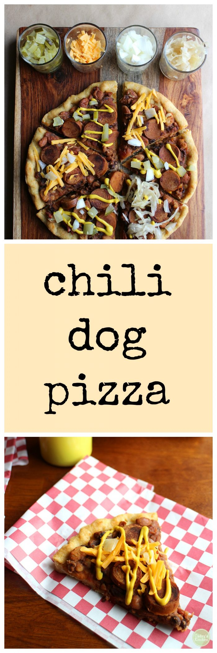 Chili dog pizza - the flavors of chili dogs and pizza, together at last! | cadryskitchen.com #vegan