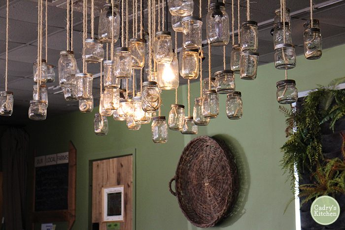 Mason jars hanging from the ceiling in Fern restaurant.