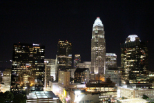 Downtown Charlotte, North Carolina at night.