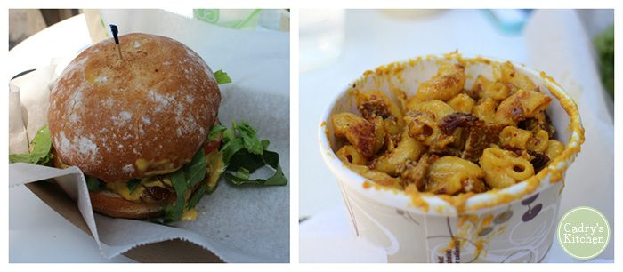 Collage with burger and bacon mac & cheese in paper cup.