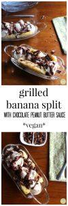Grilled banana split with chocolate peanut butter sauce | cadryskitchen.com