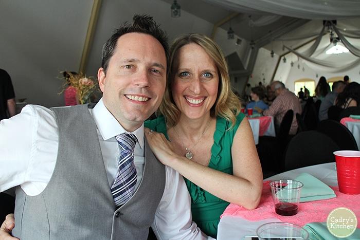 Cadry and David at wedding reception.