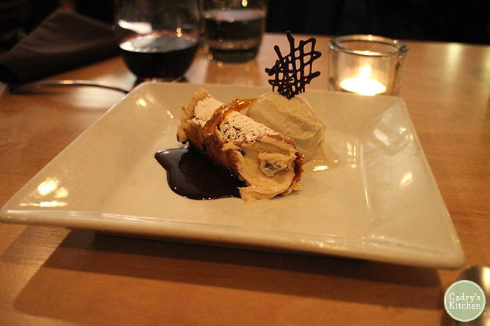 Vegan dessert of cannolo at Plant in Asheville, North Carolina.