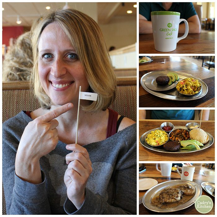 Collage from Green Sage Cafe in Asheville, North Carolina with tofu scramble, biscuits & gravy, and Cadry holding vegan flag.
