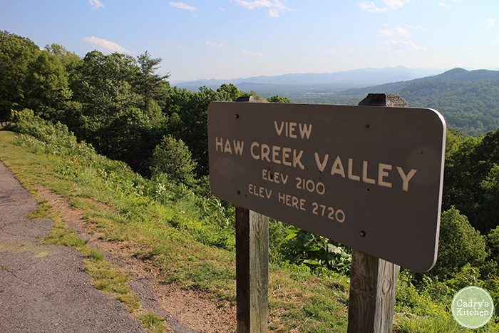 Haw Creek Valley sign in Asheville, North Carolina on Blue Ridge Parkway.