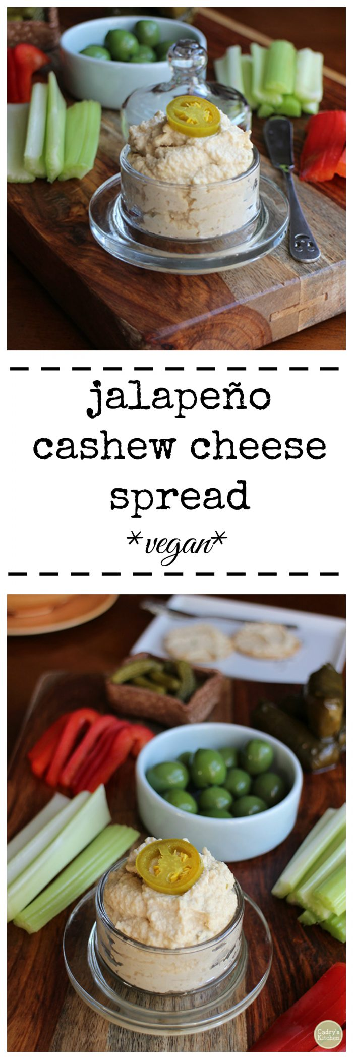 Jalapeno cashew cheese spread. With a base of raw cashews, this spread snaps with the flavor of pickled jalapeños. Vegan. Dairy free. | cadryskitchen.com