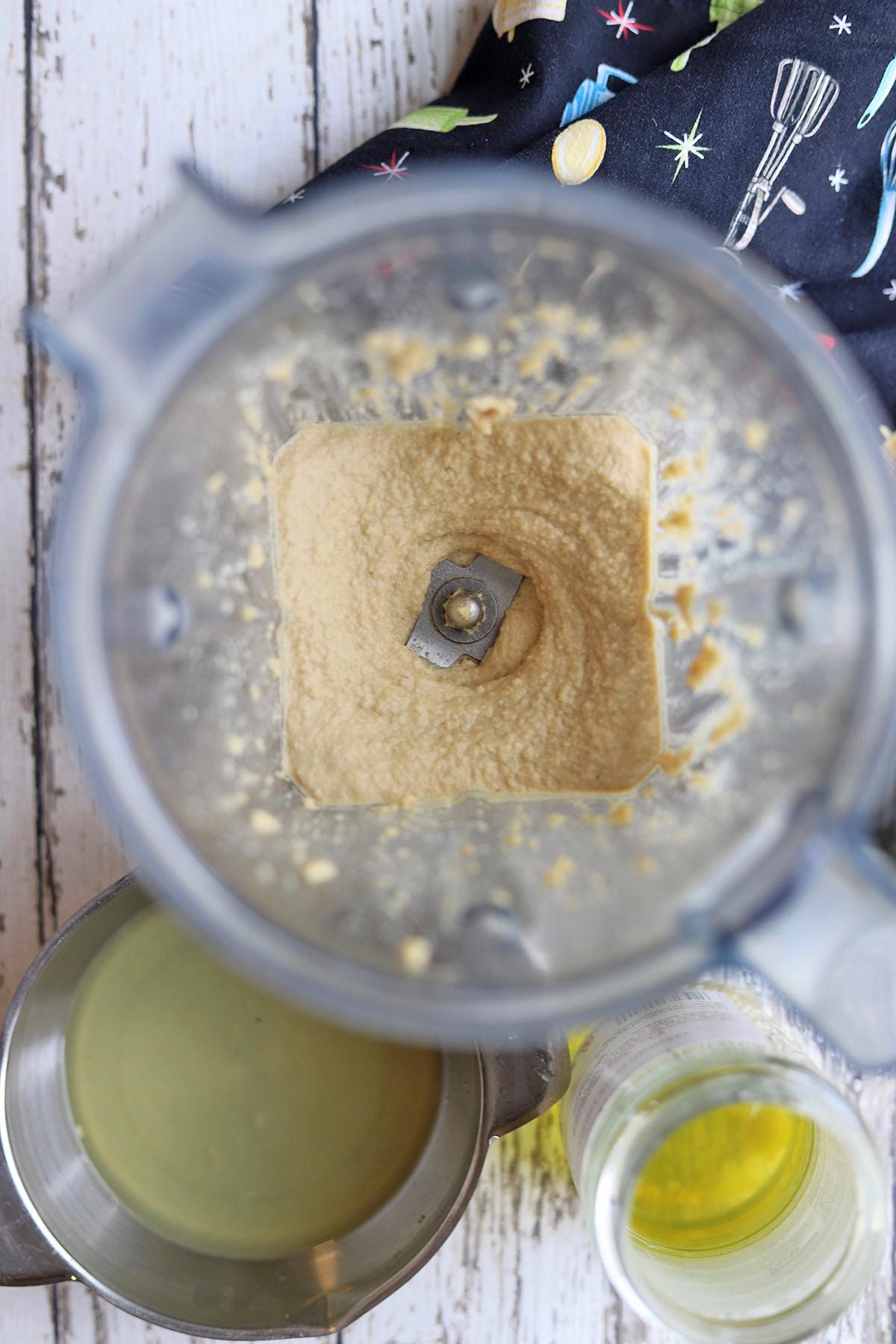 Cashew cheese fully blended in blender.