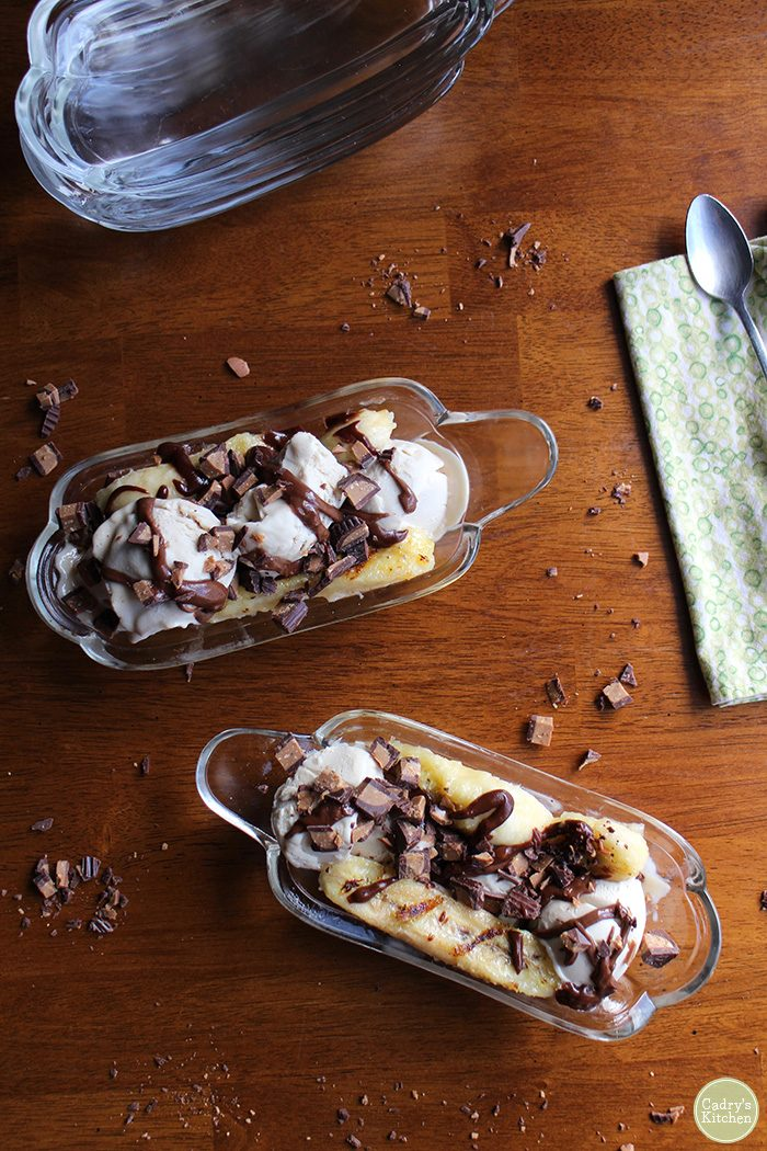 Grilled banana split with peanut butter cup sauce | cadryskitchen.com