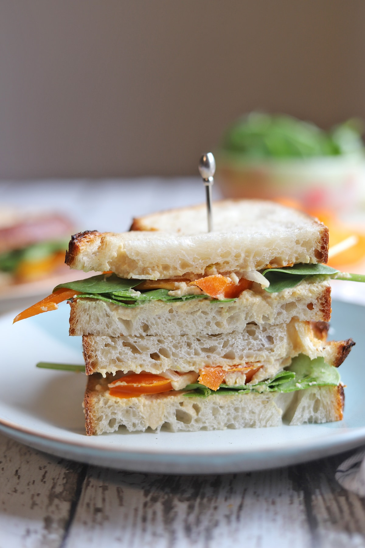 Vegetable sandwich on plate with pick.