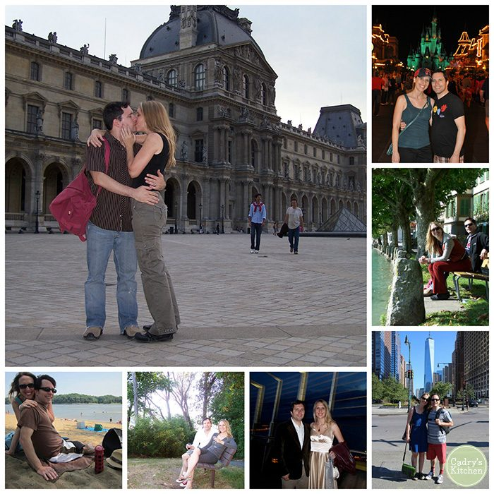 Collage with Cadry & David in Paris, Seattle, New York City, Switzerland, and Disney World.