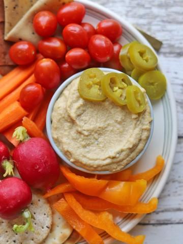 Vegan cheese on vegetable platter.