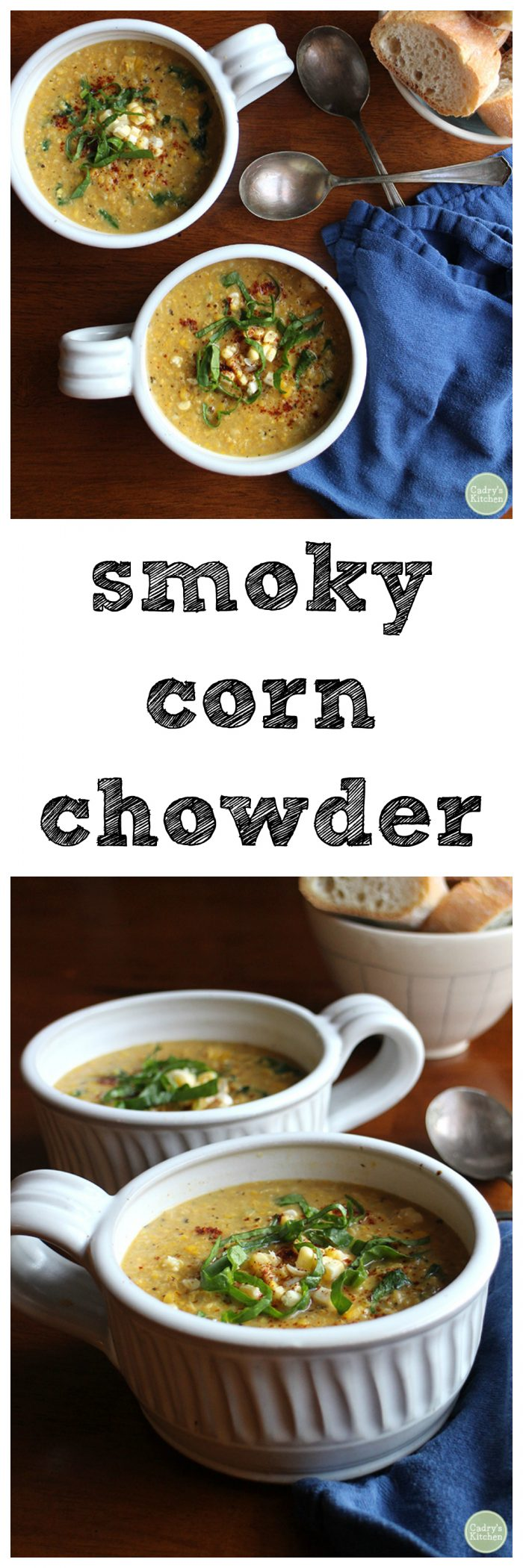 Smoky corn chowder - a savory creamy soup that's entirely vegan | cadryskitchen.com