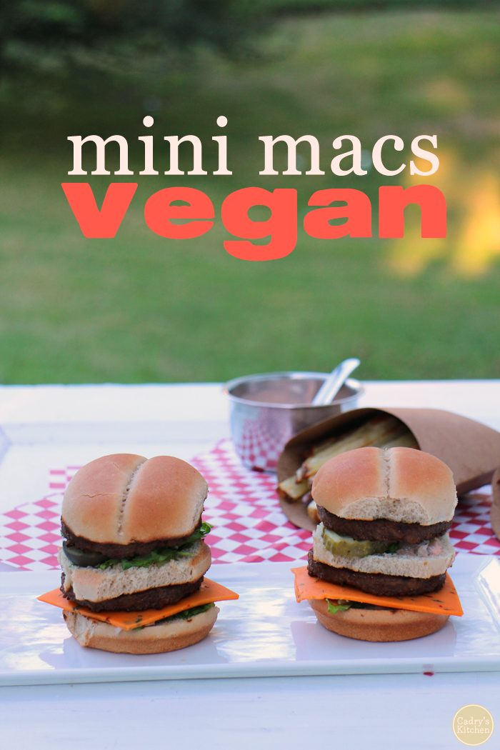Mini Macs: These #vegan Big Mac sliders are made with two no-beef patties, special sauce, lettuce, cheese, pickles & onions on a miniature bun | cadryskitchen.com