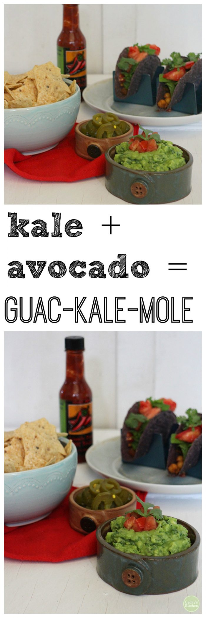 If you're a kale fan like I am, you're sure to love this twist on guacamole. The kale in this kale guacamole blends into the flavors beautifully without dominating. It just adds a little somethin'-somethin' in taste and bite. #dip #appetizer #avocado #kale #vegan #vegetarian #mexican