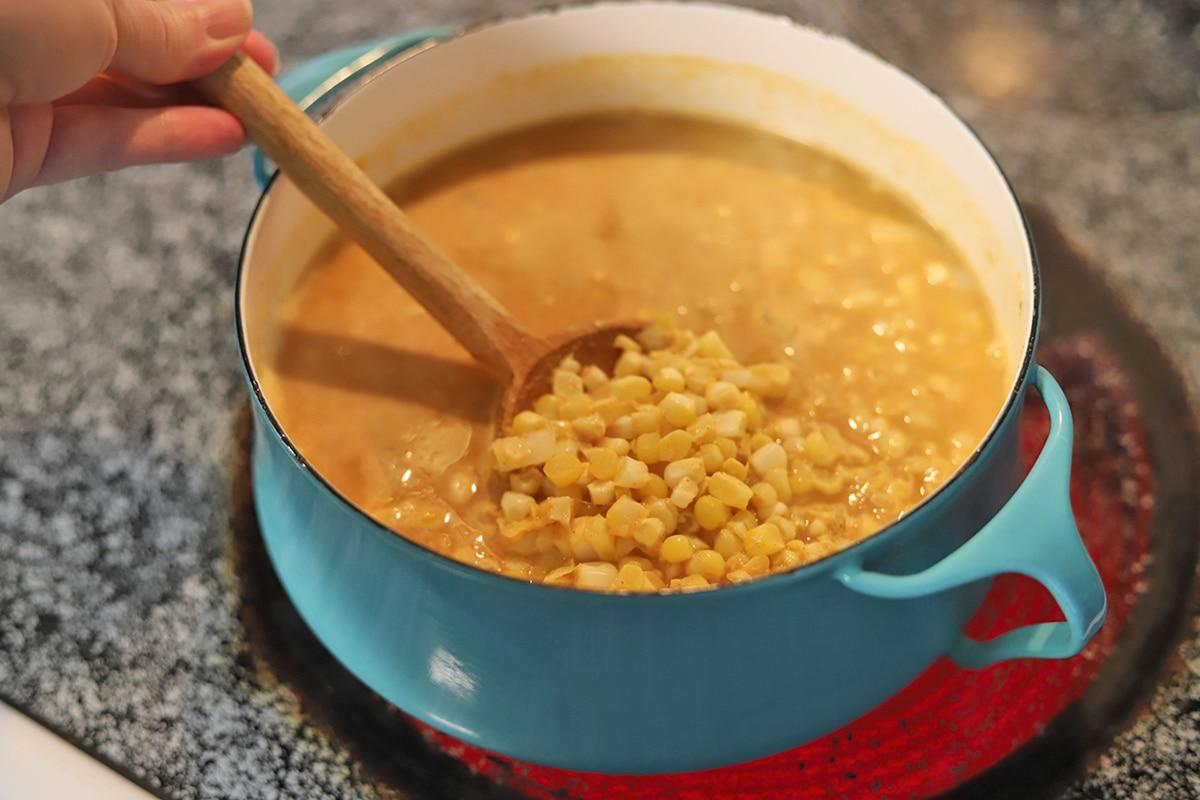 Soup pot with corn chowder.