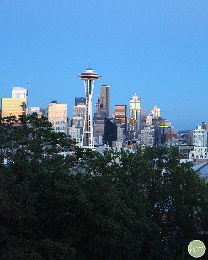 Where to go in Seattle + vegan food. View of Space Needle from Kerry Park.
