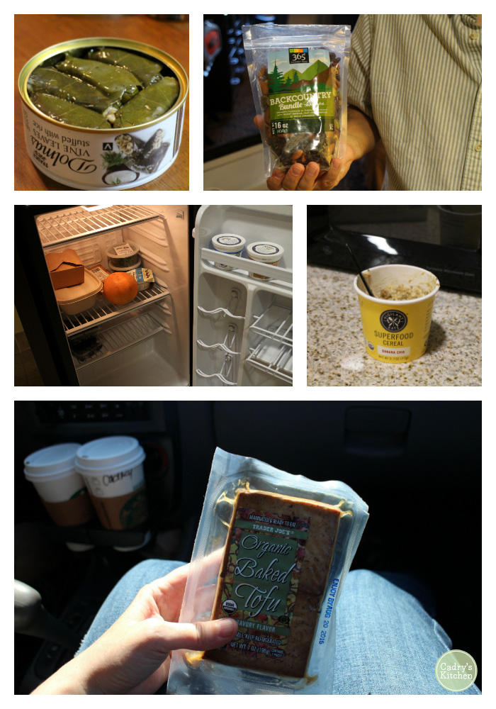 Collage of portable vegan travel meals - dolmas, nuts, hotel refrigerator, oatmeal, and baked tofu.