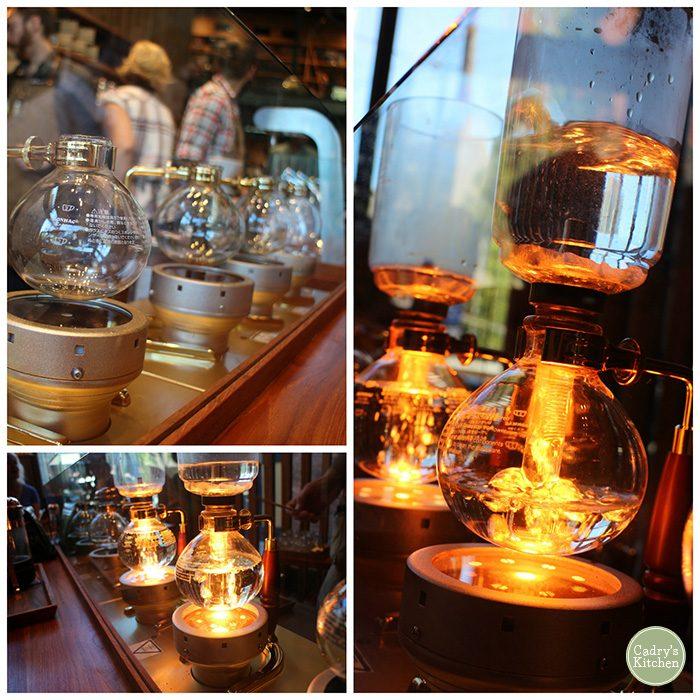 Coffee pots at Starbucks Roastery in Seattle.
