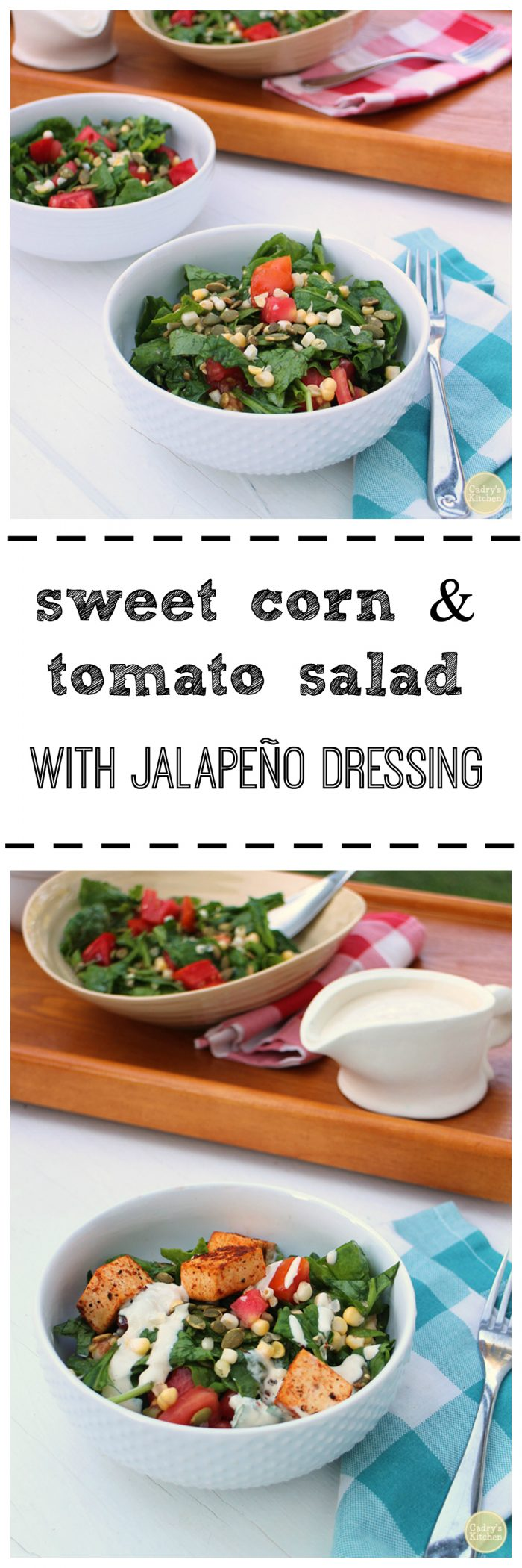 Sweet corn & tomato salad with jalapeno dressing - The quintessential summer salad. Vegan | cadryskitchen.com