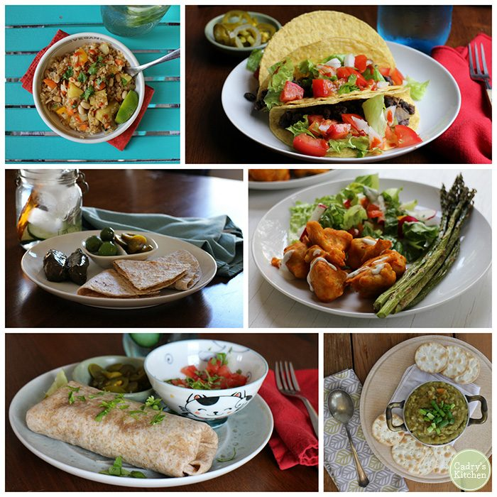 Collage of lunches: fried rice, tacos, quesadilla, Buffalo cauliflower, burrito, and split pea soup.
