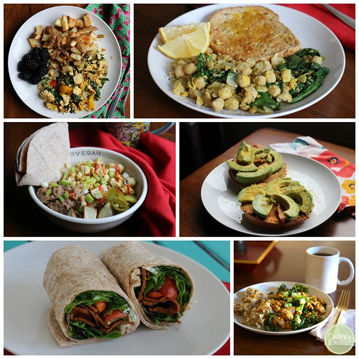 Collage of easy vegan meals: tofu scramble, chickpea scramble, Southwestern bowl, avocado toast, BLT roll-up, and hashbrowns.