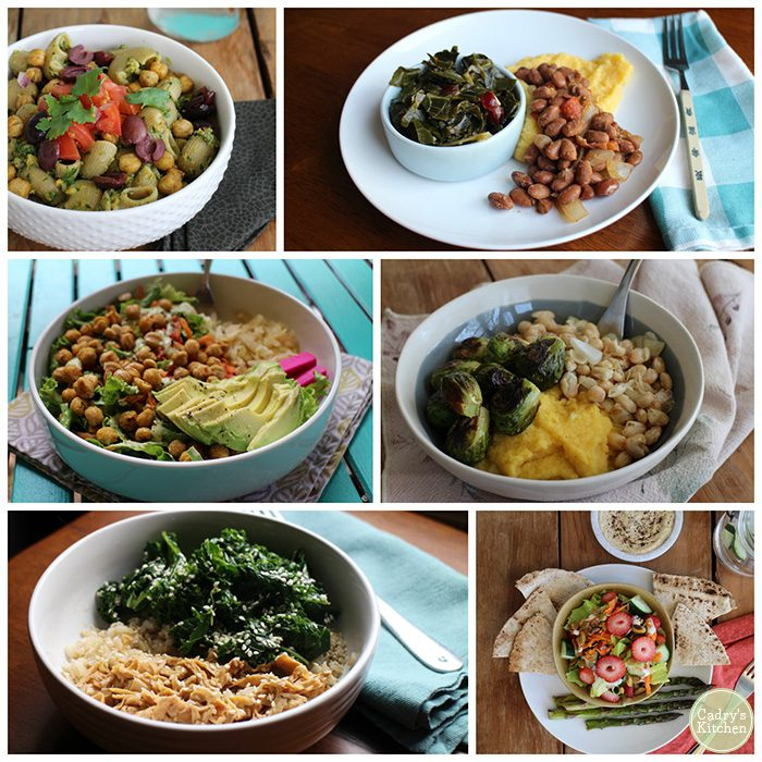 Lunches collage: pasta, polenta, salad, beans, sesame kale, and asparagus.