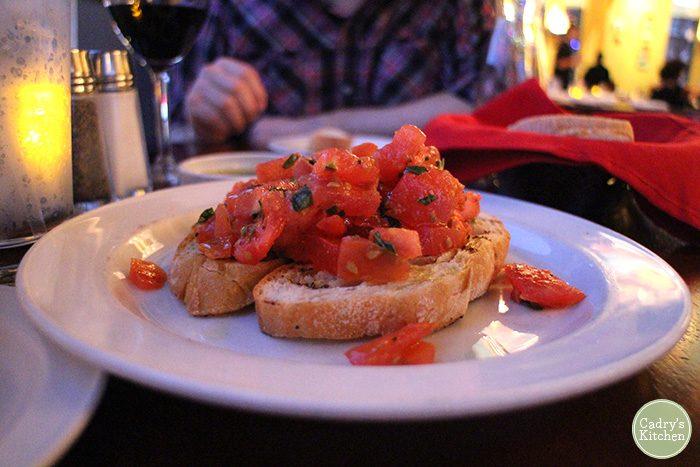 Bruschetta on plate.