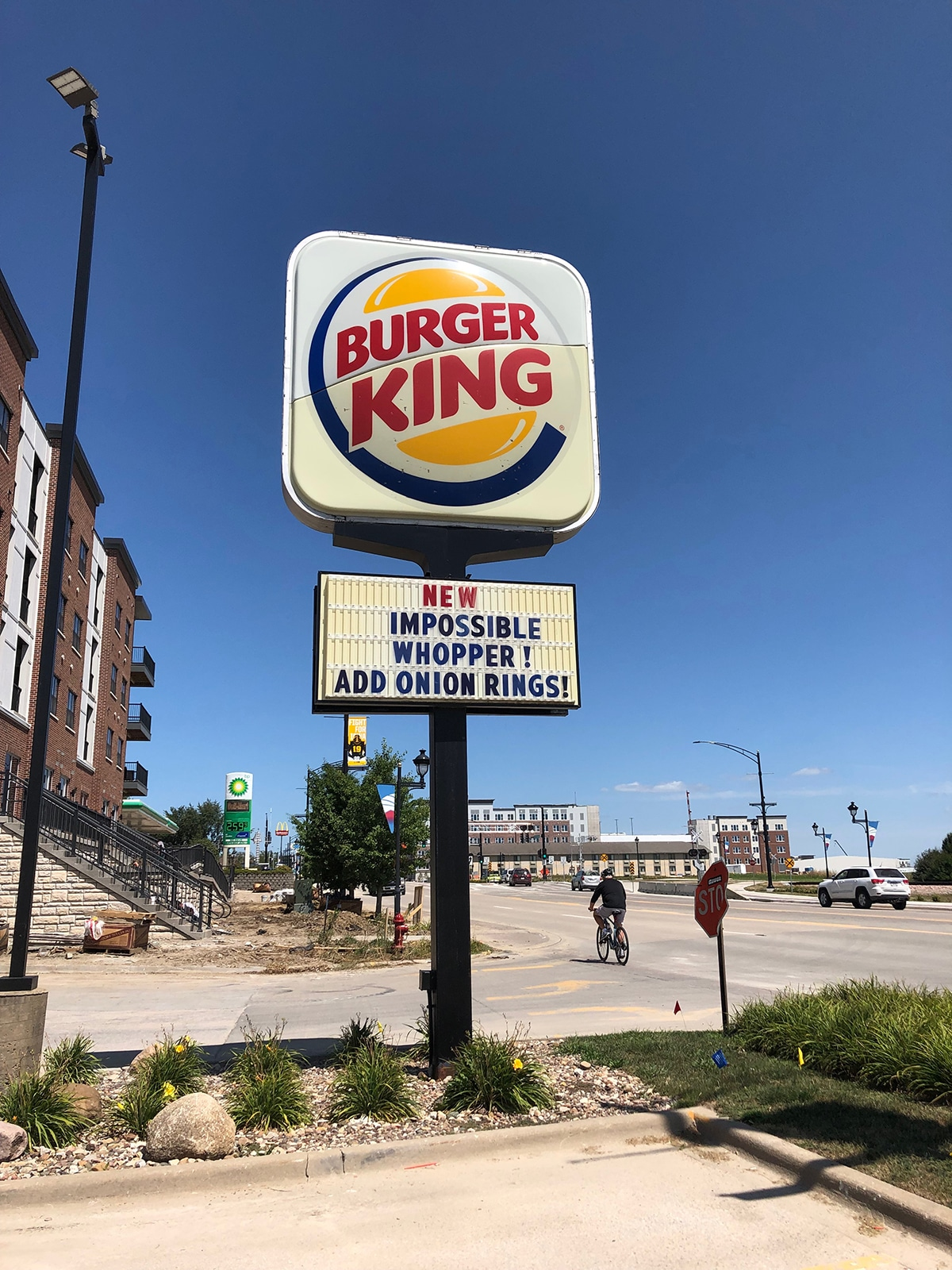Burger King sign advertising Impossible Whopper.