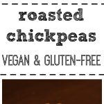 Roasted chickpeas in a blue bowl + text.