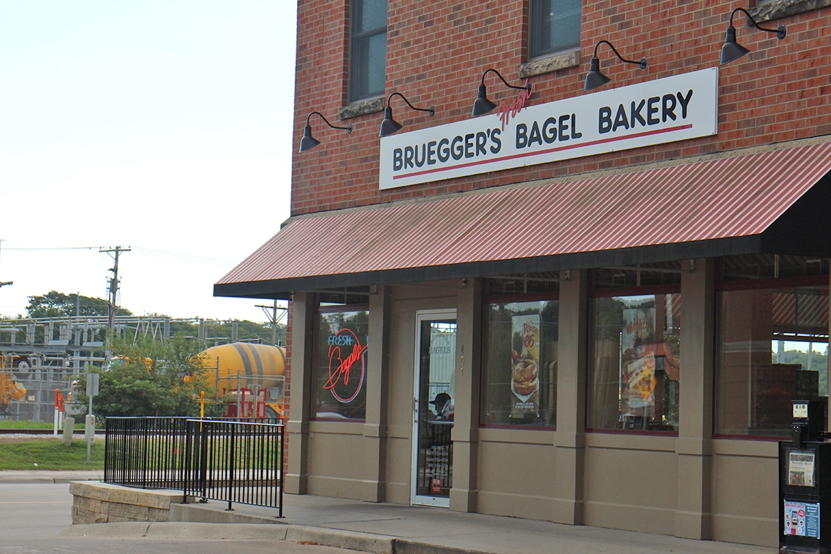 Exterior Bruegger's Bagel Bakery.