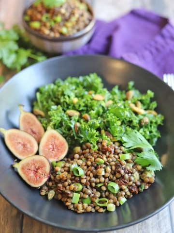Lentils in bowl with kale salad and figs.
