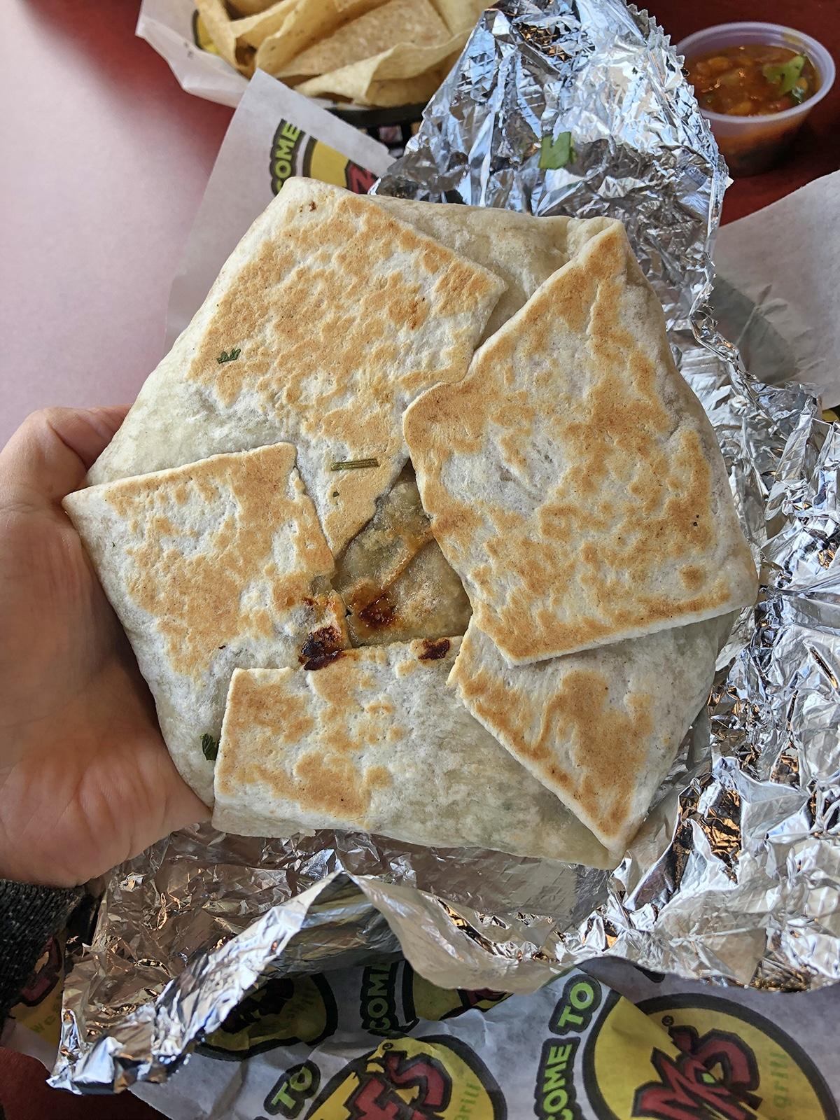 Vegan crunch wrap at Moe's Southwest Grill.