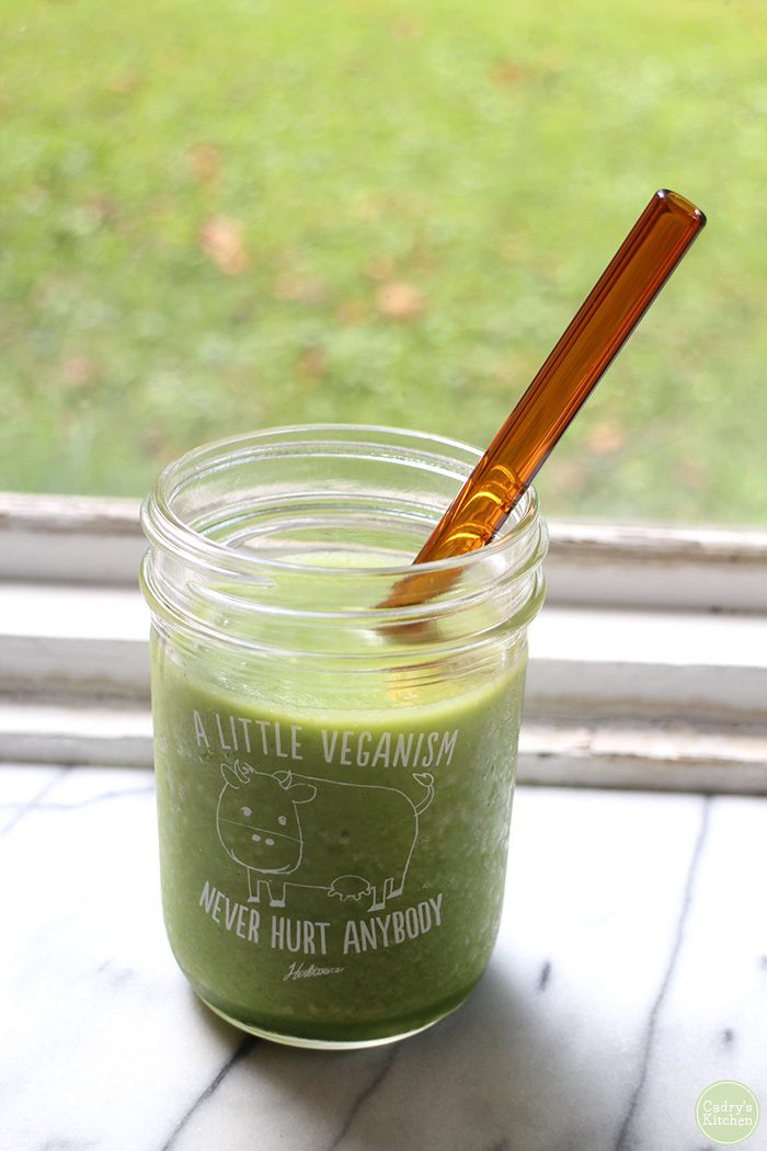 "Smoothie in glass that says, ""A little veganism never hurt anybody."""
