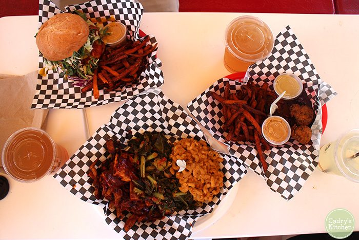 Overhead baskets of food at Homegrown Smoker.
