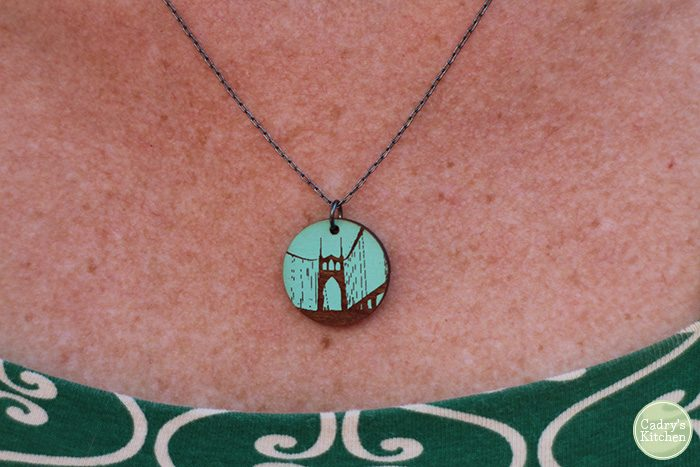 Close-up necklace with St. John's Bridge.