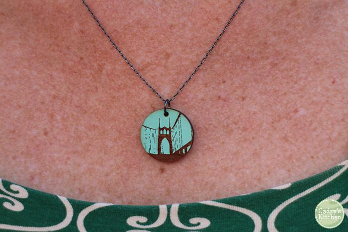 Necklace with Portland bridge on it.