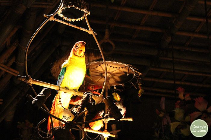 Lit up animatronic parrot on perch in Tiki Room.