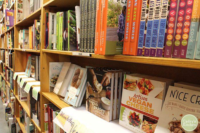 Vegan cookbooks on shelf at Powell's Bookstore in Portland, Oregon.