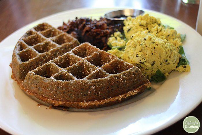 Waffle with tofu scramble.
