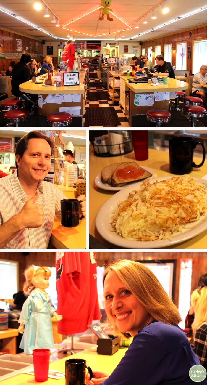 Collage of Twede's Cafe with hash browns, Cadry, David, and counter.