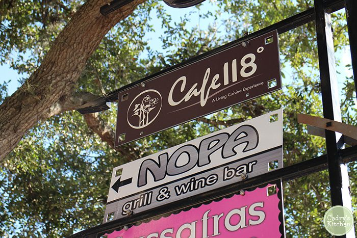 Sign in Winter Park, Florida for Cafe 118 and Nopa Grill & Wine Bar.