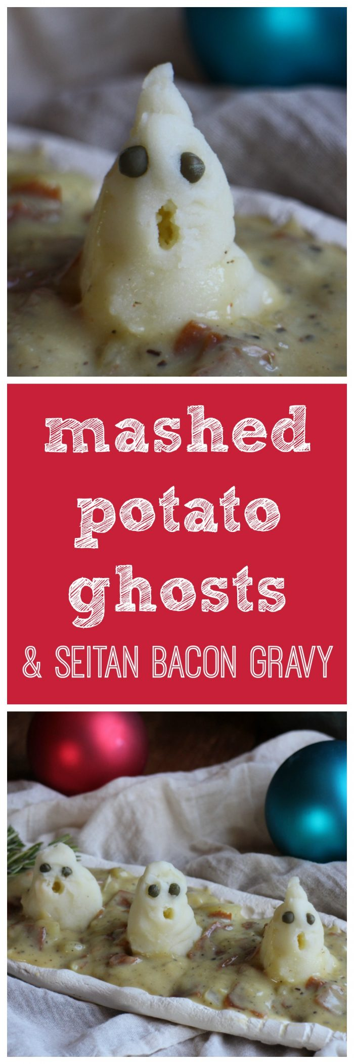 A Christmas Carol dinner: Mashed potatoes & seitan bacon gravy. Vegan. | cadryskitchen.com