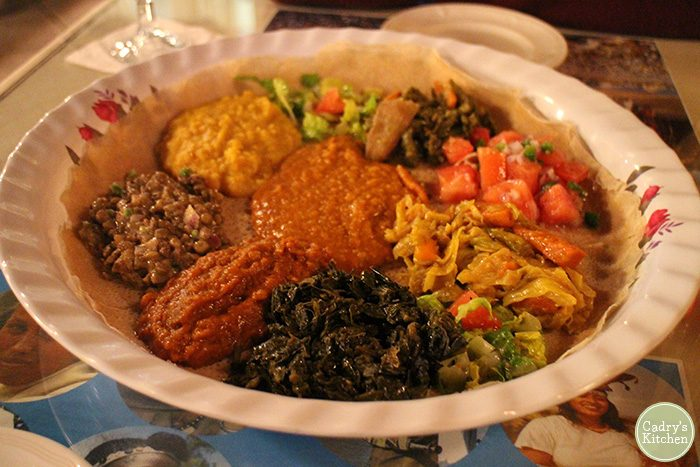 Wots on injera platter at Nile Ethiopian restaurant in Orlando, Florida.