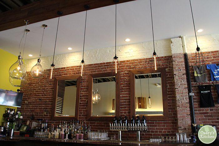 Bar and lights at Benson Brewery.