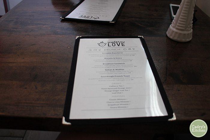 Brunch menu on table at Modern Love Omaha.
