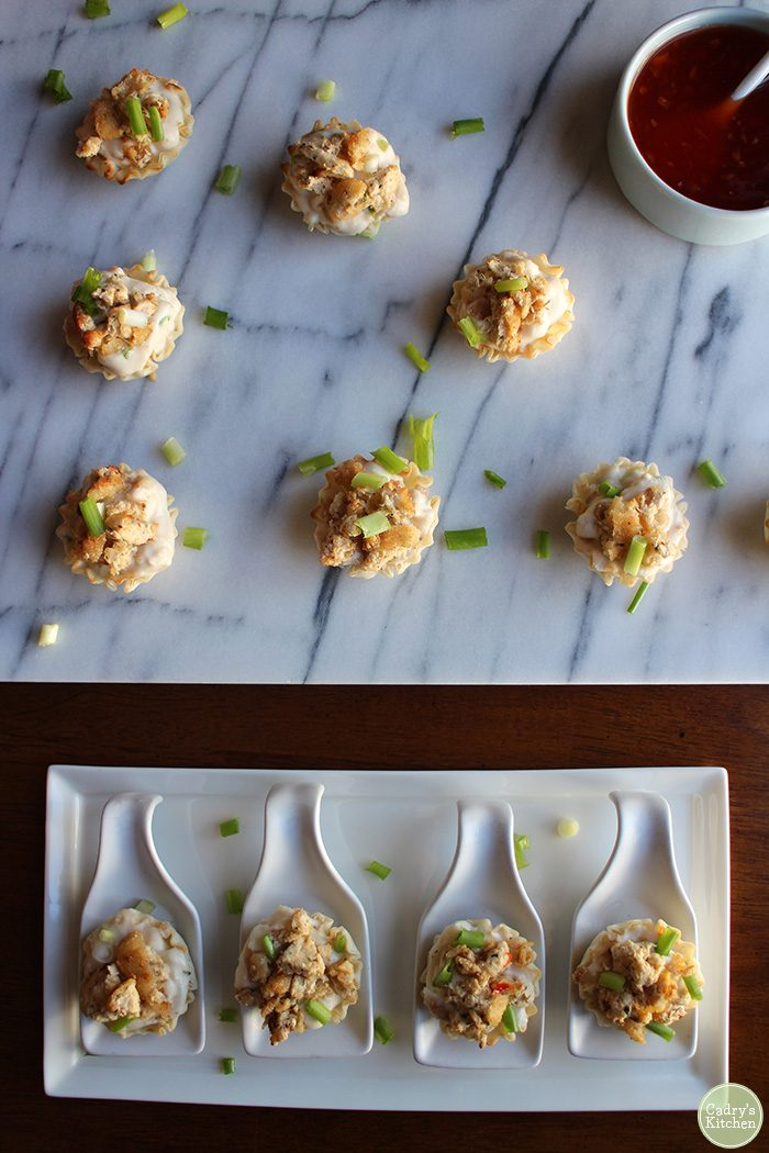Vegan crab rangoon: A mouthwatering appetizer for a dinner party, football gathering, or just because. | cadryskitchen.com