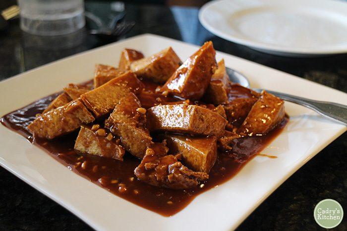 Peanut butter tofu on plate.