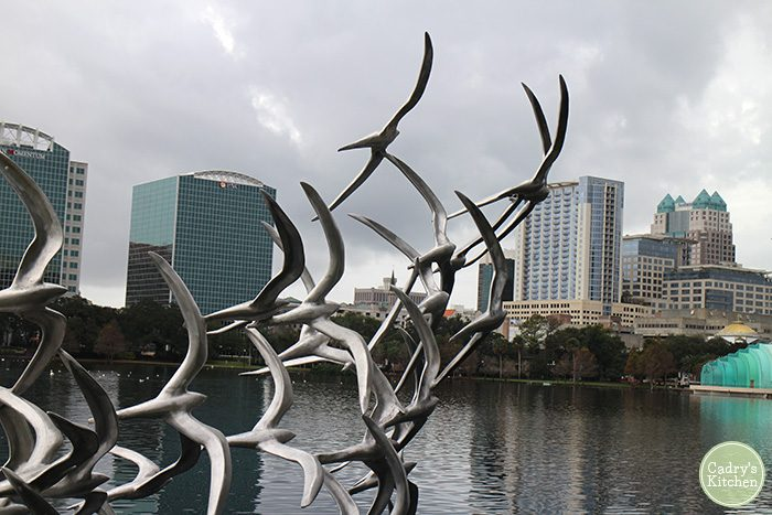 Bird statue at Lake Eola in Orlando, Florida.