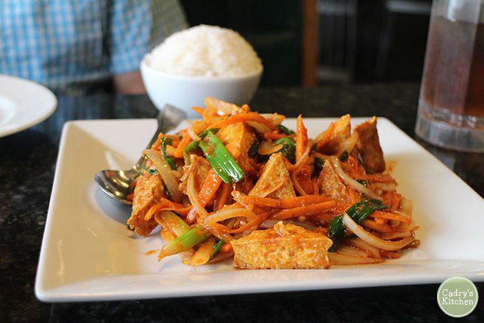 Spicy tofu bulgogi on plate.